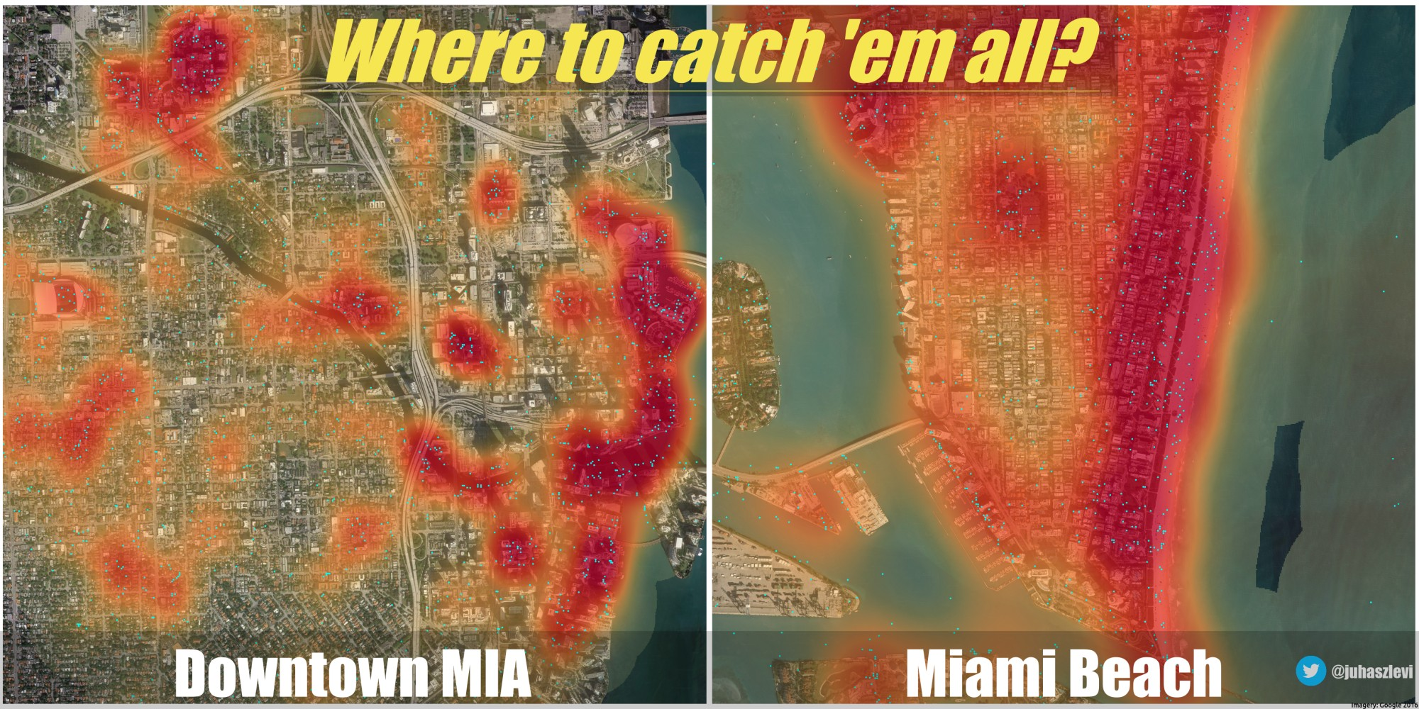 Pokemon locations and density in Miami